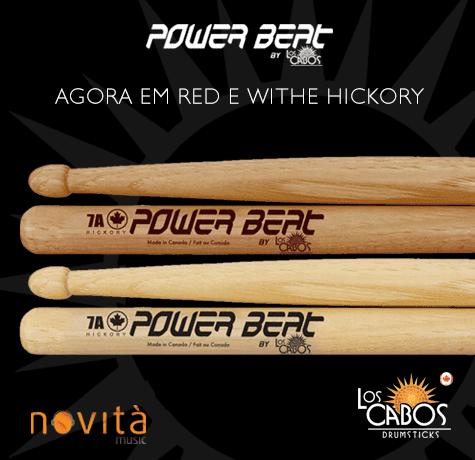 Linha de baquetas Power Beat agora em White e Red Hickory!